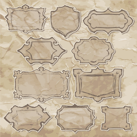 textur: Vector freehand drawing templates of frames. Sketches of vintage frames on the old paper.