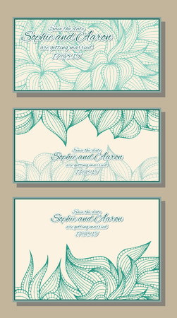 dense: Abstract hand-drawn card with dense vegetation. Can be used for the greeting card or invitation. Vector illustration