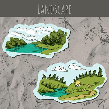 sand background: Landscape sketch drawing on the sand background. Vector illustration.