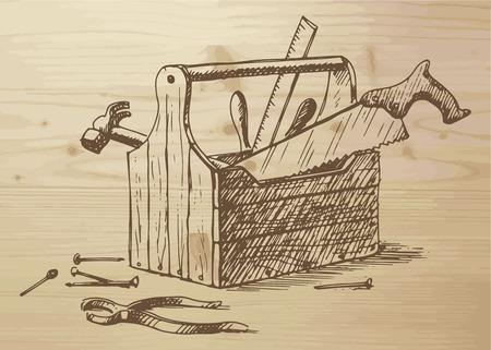 못, 망치, 톱, 눈금자, 상자, 플라이어 - 다른 도구와 함께 손으로 그린 도구 상자. 나무 배경에 도구. 나무 배경에 벡터 일러스트 레이 션.
