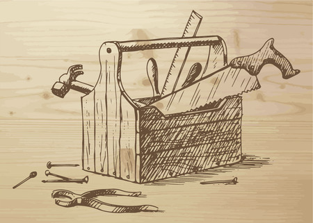 toolbox: Hand drawn toolbox with different tools -  nails, hammer, saw, ruler, box, plier. Tools on a wooden background. Vector illustration on wooden background. Illustration