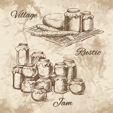 cheese bread: Village sketch with jars of jam, cheese and bread on a small tablecloth. Canned pickles on each other. Vector illustration. Illustration