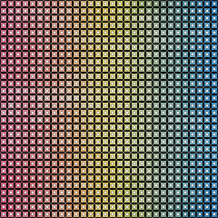 architectural styles: Geometric background in rainbow colors on the black. Squares and circles shapes. Vector illustration.
