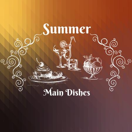 main dishes: Cocteles, postre, helado y adornos en el fondo geom�trico. Principales platos de men� de verano. Ilustraci�n del vector.