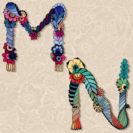 floral alphabet: Hand drawn floral alphabet. Vector illustration. Fairy tale letters M and N