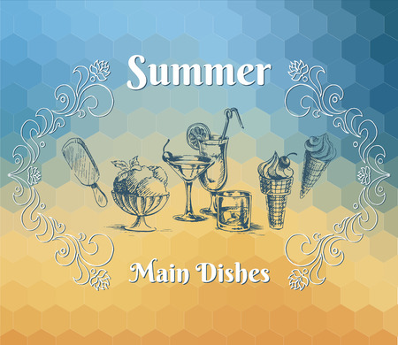main dishes: Cocteles, postre, helado y adornos en el fondo hex�gonos de color amarillo y azul. Principales platos de men� de verano. Ilustraci�n del vector.