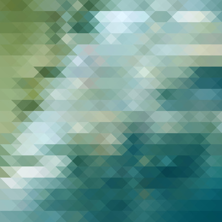 architectural styles: Geometric background. Triangle mosaic background of abstract water, sky and grass. Vector illustration