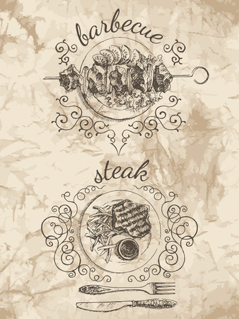 mexican food plate: Sketches of food for the menu.  Barbecue and Steak vector illustration. Pictures on the old paper background.