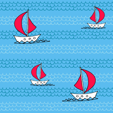 frozen fish: Seamless pattern with waves and sailboats.