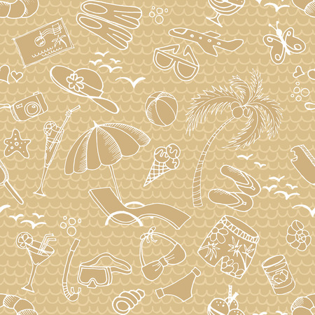 cold drinks: Seamless pattern with summer elements. Palm, beach, cold drinks, sunglasses, ice cream, postcards and other on the background with waves.
