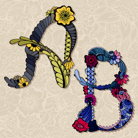 Hand drawn colorful floral alphabet. Vector illustration. Letters A, B.