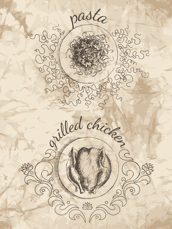 food illustrations: Sketches of food for the menu. Drawings of pasta and grilled chicken on the old paper background.