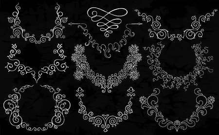 reminding: Semicircular ornaments reminding a necklace. Floral vector pattern. Wreathes with place for text on old black background.