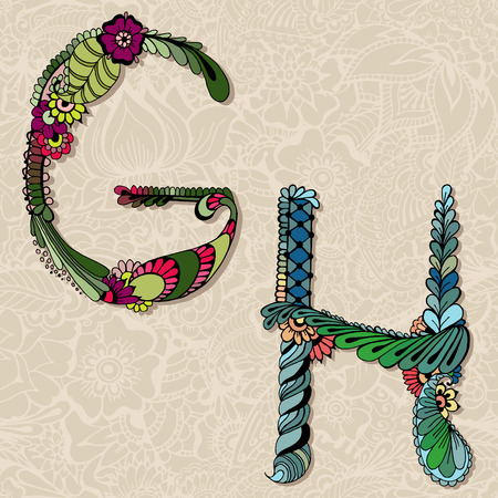 Hand drawn floral alphabet. Fairy tale letters G and H. Vector illustration.
