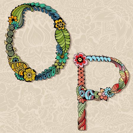 Hand drawn floral alphabet. Vector illustration. Lettres de conte de fées O et P. Banque d'images - 41911209
