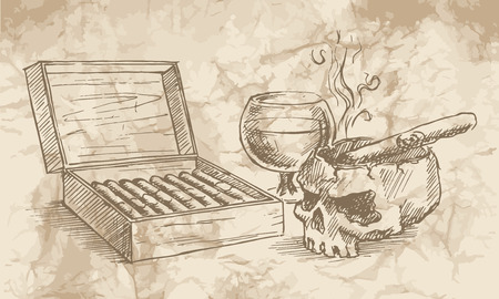 burning paper: Sketch of the cigars, skull, with a glass of whiskey and an ashtray on the old paper background.