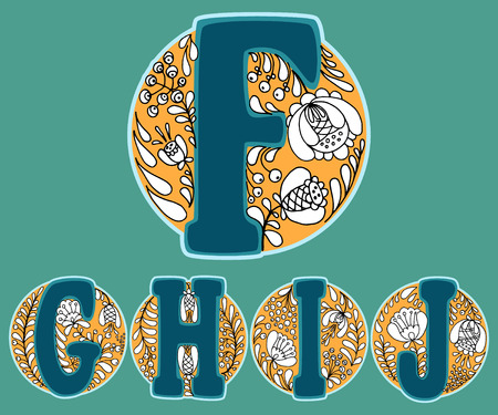 floral alphabet: Hand drawn floral alphabet with russian traditional ornament. Vector illustration. Letters F, G, H, I and J in the floral circle.