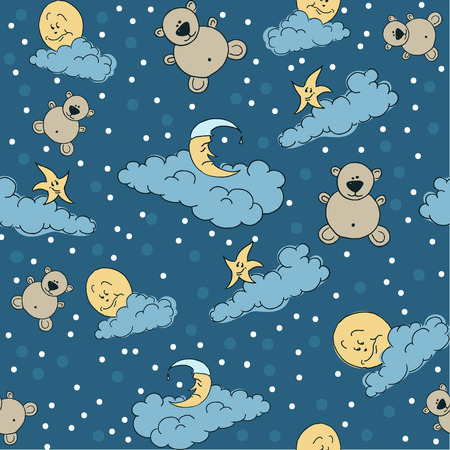sweet dreams: Bears, moon and stars on the clouds for sweet dreams seamless textile pattern
