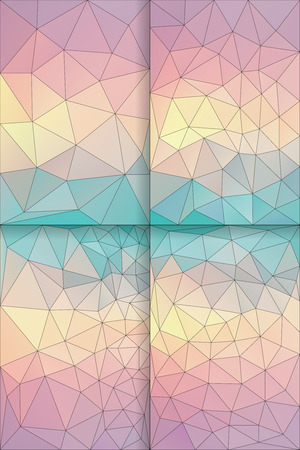 pastel backgrounds: Four vector polygon backgrounds with geometric shapes in pastel rainbow colors. Triangle mosaic background. Polygonal design.