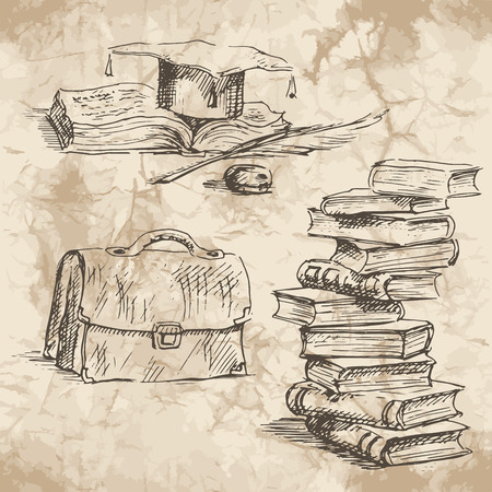 supplies: Back to School. Freehand drawing school elements on the old paper background. Schoolbooks and notebooks. Learning lessons. Vector illustration.