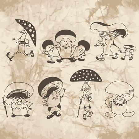 old paper background: Sketches of mushrooms family and mushrooms friends on the old paper background. Cartoon sketches. Illustration