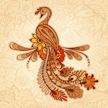 Peacock on the mehndi background, pattern with traditional indian ornamental design. Floral background with indian ornament.