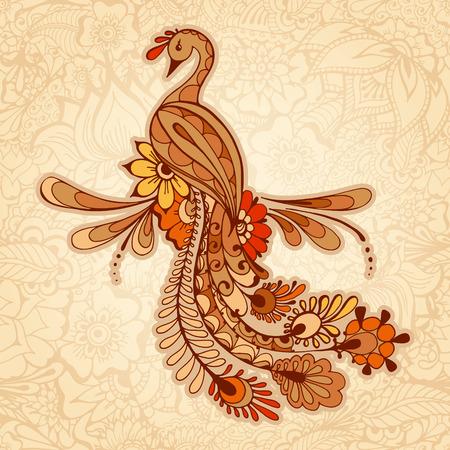 Peacock na tle Mehndi, wzór z tradycyjnych indyjskich wzorów zdobniczych. Floral tle z indyjskich ozdoba.