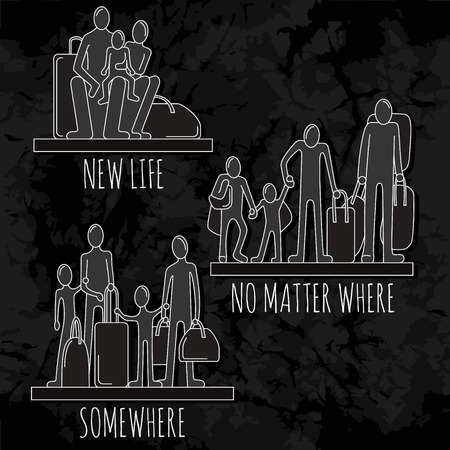 emigration and immigration: Silhouettes of people, refugees, immigrants  and families who left without homes. People with bags and luggage on the old black background. Illustration