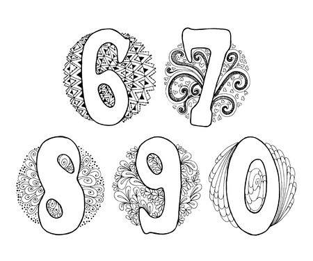 7 8: Hand drawn numbers with doodle elements in a circle. Numbers 6, 7, 8, 9, 0.