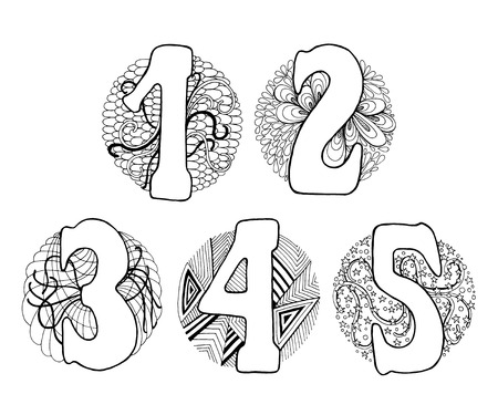 3 4: Hand drawn numbers with doodle elements in a circle. Numbers 1, 2, 3, 4, 5.