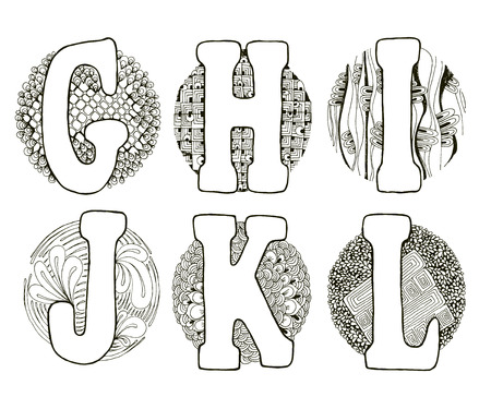 l hand: Hand drawn alphabet with doodle elements in a circle. Fairy tale letters G, H, I, J, K, L.