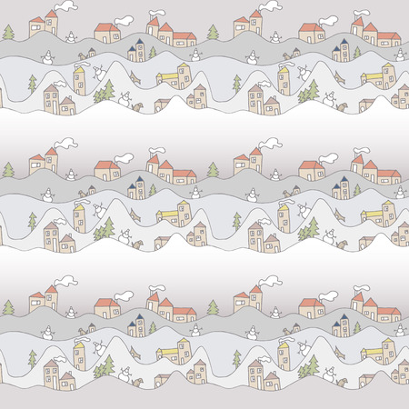 snowdrifts: Abstract Christmas seamless pattern with houses. Hand drawn snowdrifts.