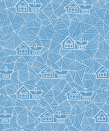 snowdrifts: Abstract geometric seamless pattern with houses. Geometric snowdrifts.