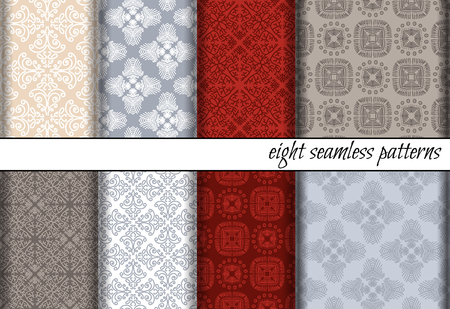 covering: set of seamless patterns. Can be used for textile design, backgrounds, textures, invitations, greeting cards or other. Illustration