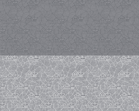 Abstract geometric seamless pattern with houses. Architecture, geometric snowdrifts.