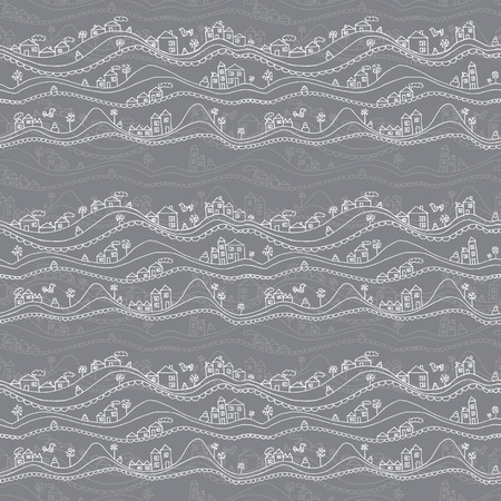Abstract hand drawn seamless pattern with houses and snowdrifts.