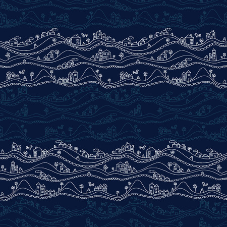 textile pattern: Abstract hand drawn seamless pattern with houses and snowdrifts.