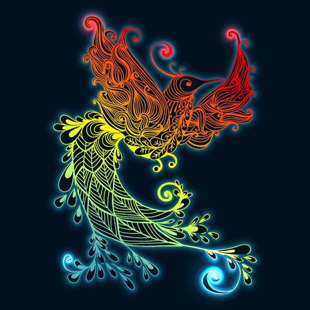 Illustration of flying Phoenix Bird. Fire burning colibri bird with dark blue background. Illustration