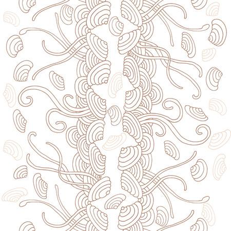 seaweed: Seaweed seamless pattern. Seashells in water.