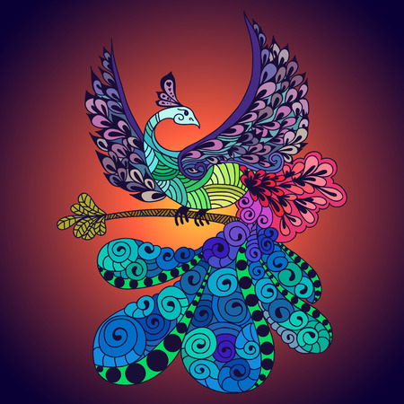 Illustration of flying Phoenix Bird. Fire burning peacock bird with dark blue background.