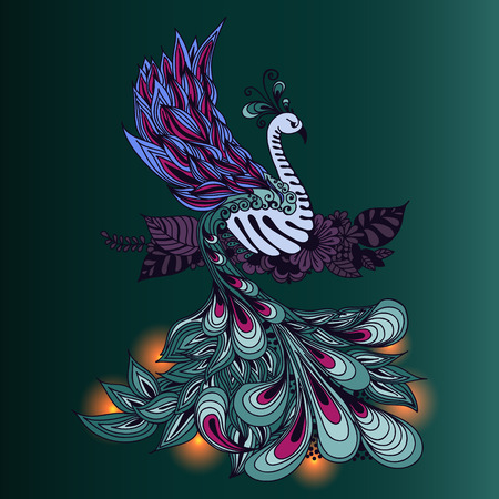 mythical phoenix bird: Illustration of Phoenix Bird. Fire bird with lights on its tale.