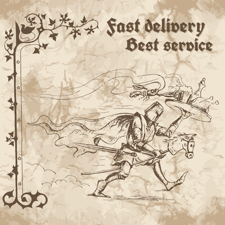cartoon knight: Knight in a hurry to deliver the food and drinks on a tray. Vector illustration on the background of old paper.
