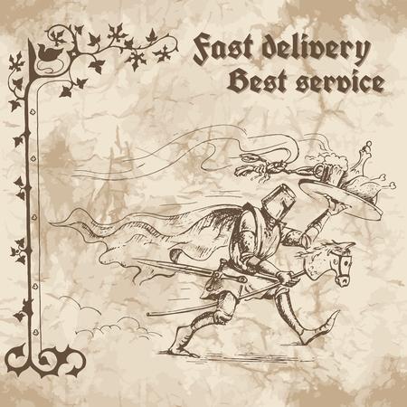 caballero medieval: Knight tiene prisa para entregar la comida y bebidas en una bandeja. Ilustración del vector en el fondo de papel viejo.