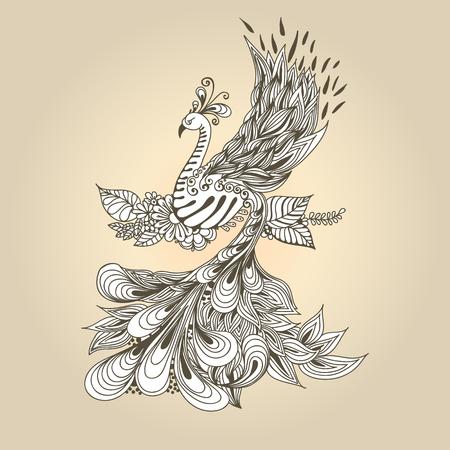 Illustration of flying Phoenix Bird. Peacock on the beige background.