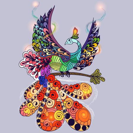 Illustratie van vliegende Vogel van Phoenix. Branden van de brand vogel met lampjes op de vleugels.