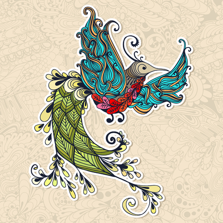 mythical phoenix bird: Illustration of flying Phoenix Bird. Colibri bird on seamless doodle background. Spring colorfull bird.
