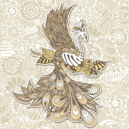 tatouage oiseau: Illustration de voler Phoenix Bird. Vector illustration sur fond transparente avec des fleurs mehndi.
