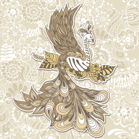 bird beaks: Illustration of flying Phoenix Bird. Vector illustration on seamless background with mehndi flowers.