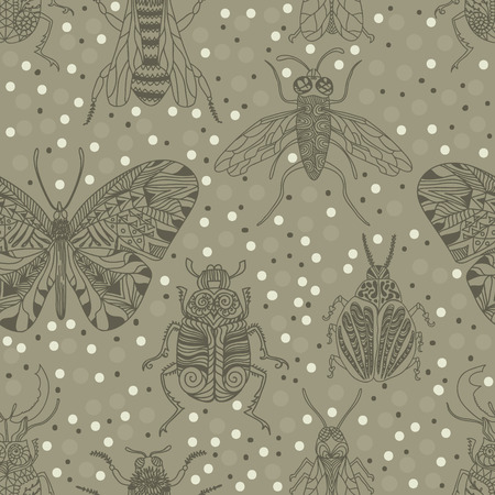 stag: Seamless pattern with insects for design