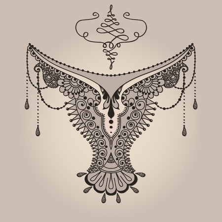Template for tattoo design with mehndi elements. Illustration